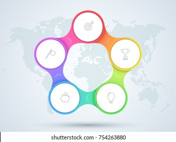 Infographic 5 Point Business Diagram With World Map