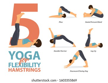 Infographic of 5 Yoga poses for hamstrings flexibility in flat design. Beauty woman is doing exercise for body stretching. Set of yoga sequence Infographic.  Vector Illustration.