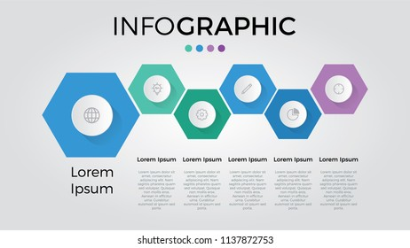 infographic with 6 hexagons can be used for timeline, list, business presentation template