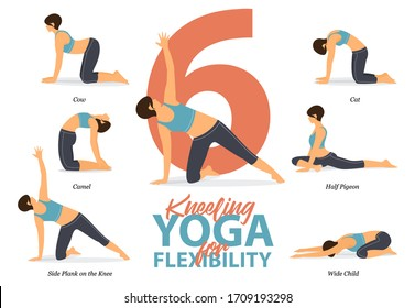 Infographic of 6 Kneeling Yoga poses for Easy yoga at home in concept of flexibility in flat design. Beauty woman is doing exercise for body stretching. Set of yoga at home infographic . Yoga Vector.