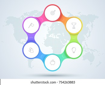 Infographic 6 Point Business Diagram With World Map