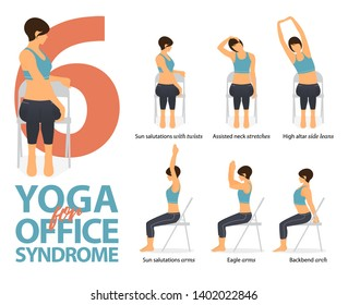 Infographic of 6 Yoga poses for office syndrome in flat design. Beauty woman is doing exercise for strength on office chair. Set of yoga postures female figures Infographic . Vector Illustration.