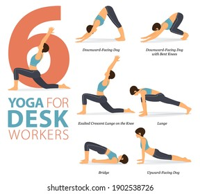 Infographic 6 Yoga poses for workout in concept of Desk Workers in flat design. Women exercising for body stretching. Yoga posture or asana for fitness infographic. Flat Cartoon Vector Illustration.