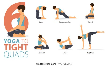 Infographic 6 Yoga poses for workout in concept of Tight Quads in flat design. Women exercising for body stretching. Yoga posture or asana for fitness infographic. Flat Cartoon Vector Illustration.