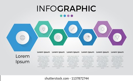 infographic with 7 hexagonscan be used for timeline, list, business presentation template