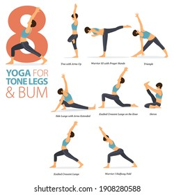 Infographic 8 Yoga poses for workout in concept of Tone legs and bum in flat design. Women exercising for body stretching. Yoga posture, asana for fitness infographic. Flat Cartoon Vector Illustration