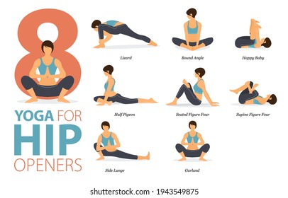 Infographic 8 Yoga poses for workout at home in concept of Hip Openers in flat design. Women exercising for body stretching. Yoga posture or asana for fitness infographic. Cartoon Vector Illustration.