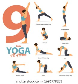 Infographic of 9 Yoga poses for Easy yoga at home  in flat design. Beauty woman is doing exercise for body stretching. Set of yoga at home infographic . Vector Illustration.