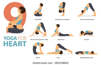 Infographic 9 Yoga poses for workout in concept of Yoga for heart in flat design. Women exercising for body stretching. Yoga posture or asana for fitness infographic. Flat Cartoon Vector Illustration