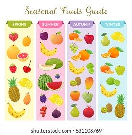Infographic about seasonal fruits. It explains what fruits you can find in each season of the year.