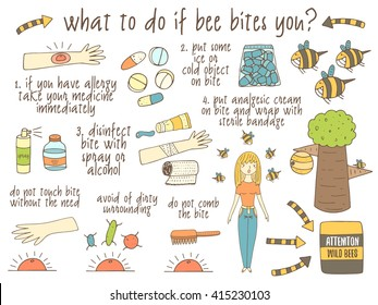 Infographic about what to do if bee bites you. Hand drawn doodle objects collection including bee, tree, hand, girl, ice, medicine, gel, spray, bite. Tips, advice collection