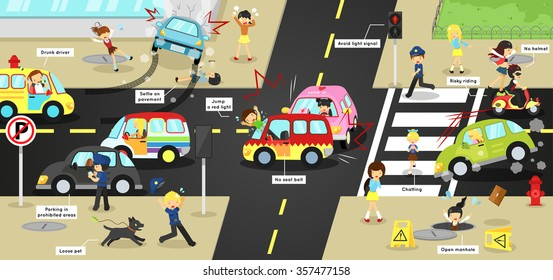 Infographic accidents, injuries, danger and safety on traffic road vehicles cause by cars bicycle and careless people on city street with sign and symbol in cute funny cartoon concept for kid (vector)