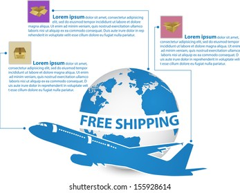 Infographic of Airplane, Air Craft Shipping Around the World for Free Shipping Concept, Vector Illustration EPS 10.