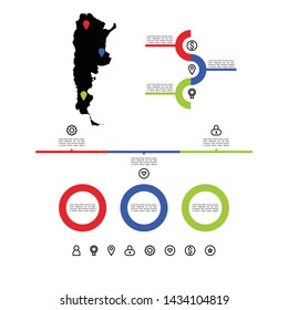 Infographic of Argentina with map for business and presentation
