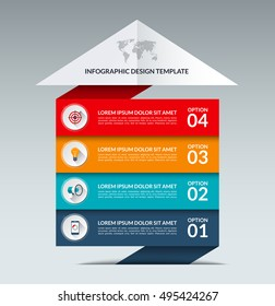 Infographic arrow design template. Business growth concept banner with 4 options, parts, stages. Can be used for web, diagram, graph, chart, report, step by step infographics. Vector background