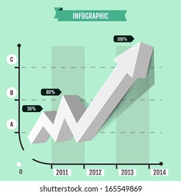 Infographic arrow  diagram graph chart-going up profits or earnings