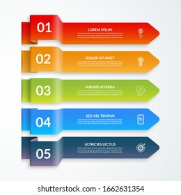 Infographic arrow elements. Vector template with 5 options, steps, parts. Can be used for web, diagram, graph, workflow layout, chart, report.