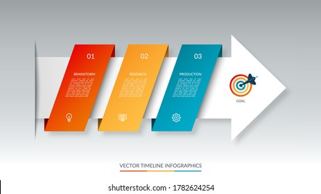 Infographic arrow timeline template with 3 steps. Can be used for web design, diagram, chart, graph, business presentation.