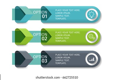 Infographic arrows with 3 step up options and glass elements. Vector template in flat design style