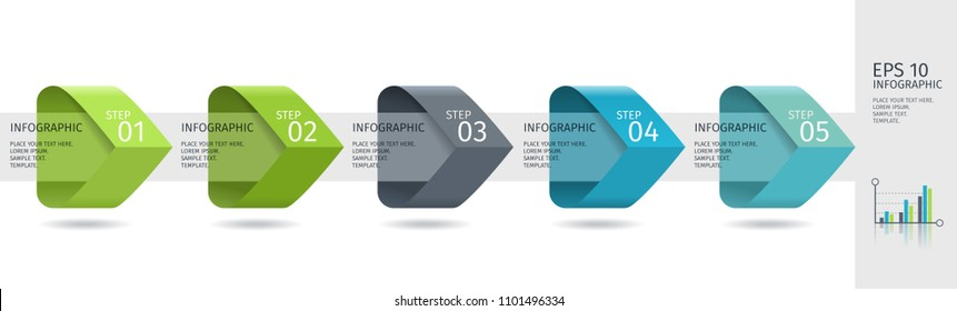 Infographic arrows with 5 step up options and glass elements. Vector template in flat design style