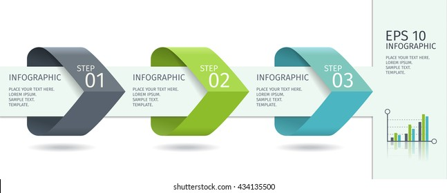Infographic arrows with step up options. Vector template in flat design style