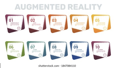 Infographic Augmented Reality template. Icons in different colors. Include Augmented Reality, Ar App, Virtual Reality, Facial Recognition and others.