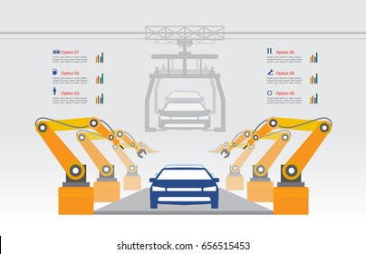 Infographic Automobile Industry Manufacturing with Assembly Line Car Vector Icon Collection Illustration