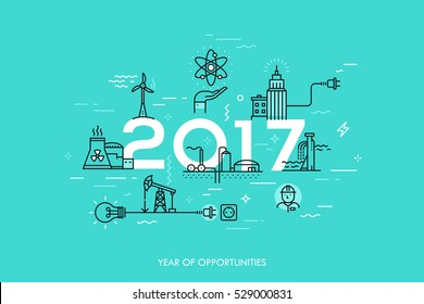 Infographic banner: 2017 - year of opportunities. Trends and predictions in water supply, electric power generation, nuclear plant construction, oil extraction. Vector illustration in thin line style.