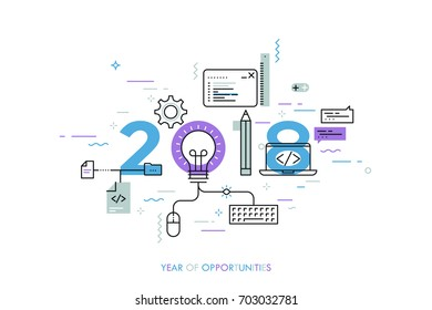Infographic banner 2018 year of opportunities. New hot trends and prospects in software, front-end web development, program coding, programming languages. Vector illustration in thin line style.