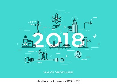 Infographic banner, 2018 - year of opportunities. Trends and predictions in water supply, electric power generation, nuclear plant construction, oil extraction. Vector illustration in thin line style.