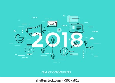 Infographic banner, 2018 - year of opportunities. Trends, predictions and expectations in social media technologies, networks, mobile apps, internet messengers. Vector illustration in thin line style.