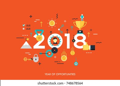 Infographic banner 2018 year of opportunities. New trends and prospects in leadership and successful business development strategies. Plans and expectations. Vector illustration in flat style.