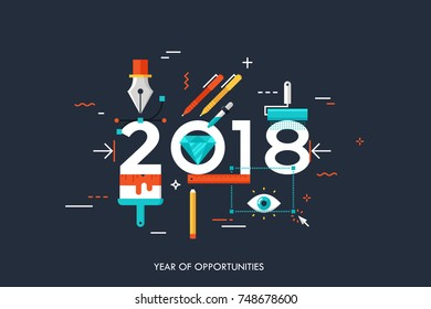 Infographic banner 2018 year of opportunities. New trends and prospects in graphic, web and digital design, concepts, techniques and tools for designers. Vector illustration in flat style.