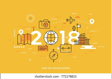 Infographic banner, 2018 - year of opportunities. New trends and prospects in tourism, trips, touristic services and travel applications. Plans and predictions. Vector illustration in thin line style.