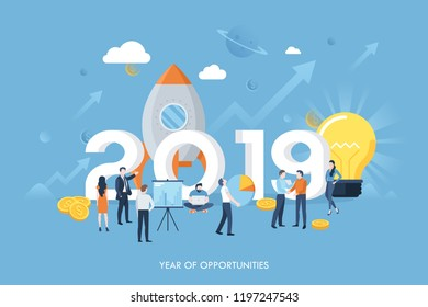 Infographic banner with 2019 number, tiny men and women, space ship, money, ascending graphs. Year of opportunities concept. Future business progress and financial development. Vector illustration.