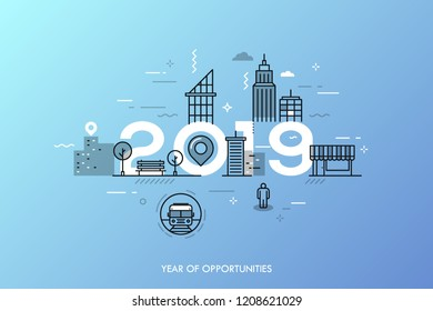 Infographic banner 2019 year of opportunities. New hot trends and prospects in urbanism, cities development, transportation, design of built environment. Vector illustration in thin line style.