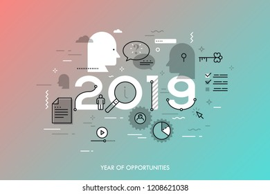 Infographic banner 2019 year of opportunities. New trends and prospects in online information search technologies, data exchange, internet content sharing. Vector illustration in thin line style.