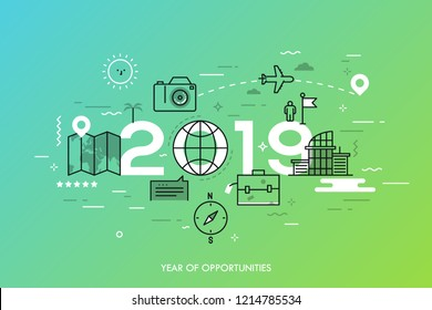 Infographic banner, 2019 - year of opportunities. New trends and prospects in tourism, trips, touristic services, travel applications. Plans and predictions. Vector illustration in thin line style.
