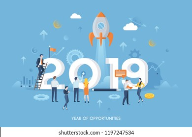 Infographic banner with giant 2019 number, tiny office workers, flying spacecraft. Year of opportunities concept. Concept of successful product release or project launch. Flat vector illustration.