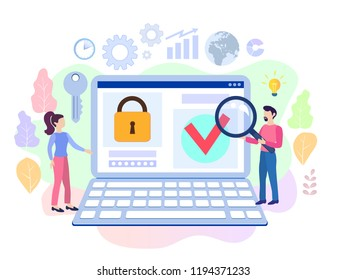 Infographic, banner with  protect data and confidentiality. Safety and confidential data protection, concept with character saving code and check access. Flat vector illustration