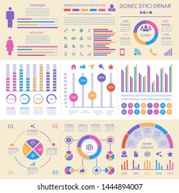 Infographic banners. Ui interface, information panel with finance graphs, pie chart and comparison diagrams vector set. Business data diagram, chart and infographic illustration