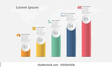 Infographic bar graph template easy to used for workflow layout, diagram, number options, with 5 parts, steps, processes with world map dots style background