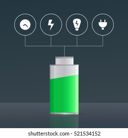 Infographic with battery and icons of electrical equipment. Illustration of alkaline accumulator. Indicator of energy charge.