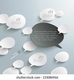 Infographic with bevel speech bubbles on the grey background. Eps 10 vector file.