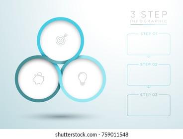 Infographic Blue 3 Step Interweaving Circle Diagram