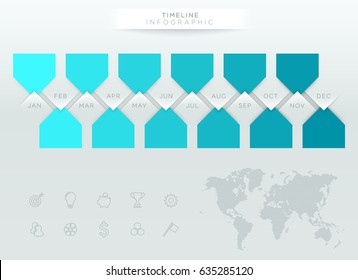 Infographic Blue Timeline With 12 Months Of The Year