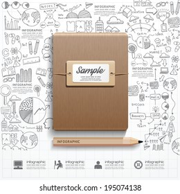 Infographic Book with  doodles line drawing success strategy plan idea. Vector illustration.Success Concept.