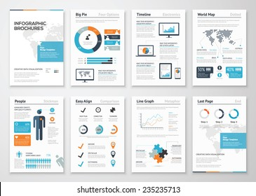 Infographic brochure elements for business data visualization. Vector illustration of modern info graphic metaphor in a flyer concept, that can be used for marketing, websites, print, presentation etc