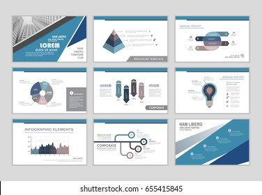 Infographic brochure elements for business and finance visualization. Set of infographic templates for flyer, leaflet cover, annual report, presentation, print, website, resume template