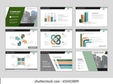 Infographic brochure elements for business and finance visualization. Set of infographic templates for flyer, leaflet cover, annual report, presentation, print, website